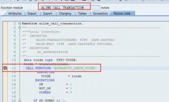 跳过事务代码(tcode)权限检查(ALINK_CALL_TRANSACTION)